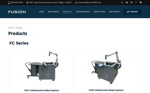 Screenshot of Products Page fusionoem.com - Products – Fusion Cobotics - captured Jan. 3, 2020