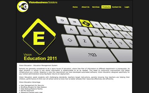 Screenshot of Products Page vbsinfo.com - Vision Business Solutions - captured Oct. 26, 2014