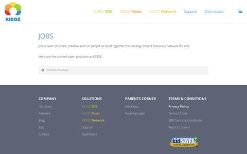 Screenshot of Jobs Page kidoz.net - Jobs - KIDOZ - The Kids Content Discovery Platform - captured Dec. 4, 2015