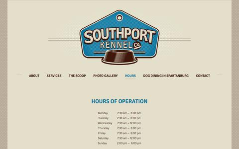 Screenshot of Hours Page southportkennel.com - Hours — Southport Kennel - captured June 17, 2016