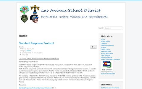 Screenshot of Home Page la-schools.com - Las Animas School District - Home - captured Feb. 19, 2018