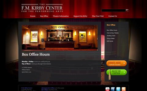 Screenshot of Hours Page kirbycenter.org - Box Office Hours - The F.M. Kirby Center for the Performing Arts - captured Oct. 4, 2014