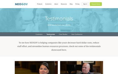 Screenshot of Testimonials Page neogov.com - NEOGOV HRMS | Testimonials, Reviews, And Why We're Best - captured Feb. 21, 2018