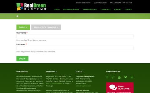 Screenshot of Login Page rganalytics.com - User account | Real Green Systems - captured Oct. 27, 2014