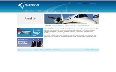 Screenshot of About Page charlottejet.com - Corporate Aircraft Sales - Private Jets, Corporate Airplane, Company Jet - captured Oct. 2, 2014