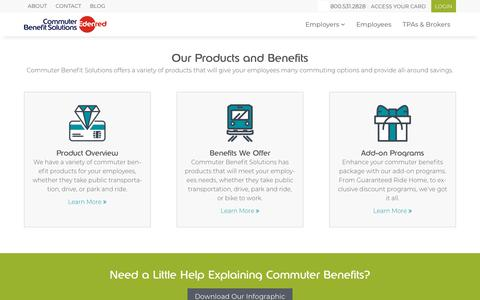 Screenshot of Products Page commuterbenefits.com - Commuter Benefit Solutions - Our Products and Benefits - captured Feb. 16, 2018