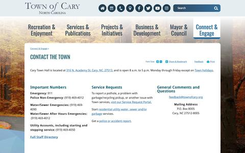 Screenshot of Contact Page townofcary.org - Contact the Town   Town of Cary - captured Oct. 19, 2018