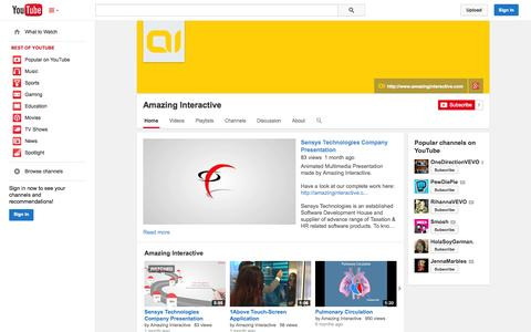 Screenshot of YouTube Page youtube.com - Amazing Interactive  - YouTube - captured Oct. 23, 2014
