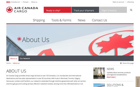 Screenshot of About Page aircanada.com - About Us - Air Canada Cargo - captured April 18, 2018