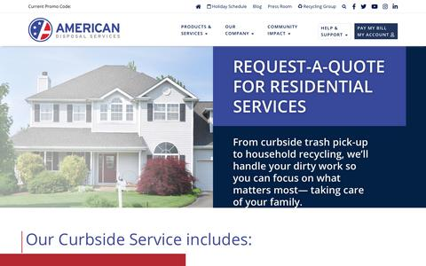 Screenshot of Signup Page americandisposal.com - American Disposal Services  » Residential Individual Form - captured Jan. 9, 2020
