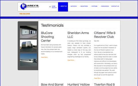 Screenshot of Testimonials Page careyscentral.com - Testimonials - captured Oct. 1, 2014