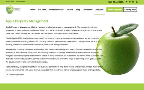 Screenshot of About Page appleproperty.com.au - About Us - Apple Property Management - captured July 30, 2018