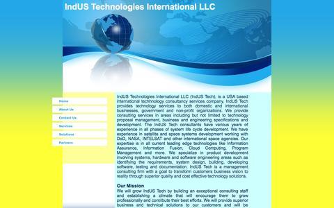 Screenshot of Home Page indus-tech-intl.com - IndUS Technologies International LLC Home - captured Oct. 6, 2014