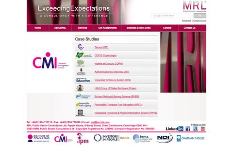 Screenshot of Case Studies Page mrl.uk.com - MRL - Public Sector Consultants - captured Oct. 4, 2014