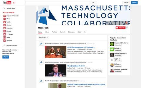 Screenshot of YouTube Page youtube.com - MassTech  - YouTube - captured Oct. 27, 2014