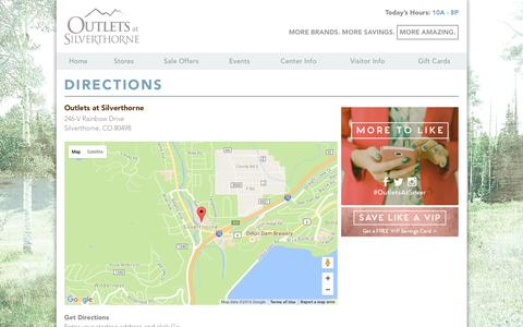 Screenshot of Maps & Directions Page outletsatsilverthorne.com - Outlets at Silverthorne :: 246-V Rainbow Drive Silverthorne, CO 80498 - captured Aug. 14, 2016