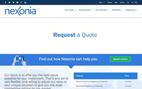 Screenshot of Pricing Page nexonia.com - Request a Quote | Nexonia - captured March 31, 2018