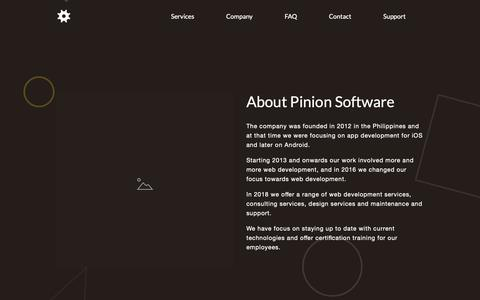 Screenshot of About Page pinion.ph - Company — Pinion Software - captured Sept. 28, 2018