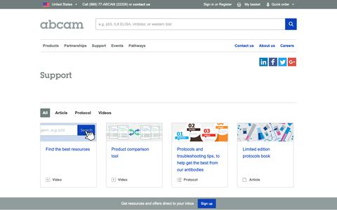 Screenshot of Support Page abcam.com - Support Information   Abcam - captured Nov. 8, 2018