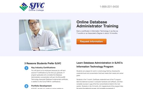 Screenshot of Landing Page sjvc.edu - Train to Become an Database Administrator - captured Oct. 23, 2017