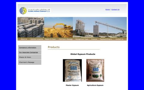Screenshot of Products Page omangypsum.com - Global Mining Company LLC, Salalah, Sultanate of Oman - captured Jan. 24, 2016