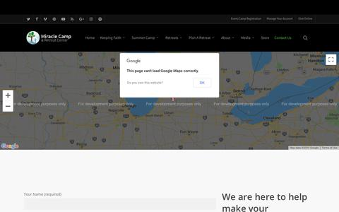 Screenshot of Contact Page miraclecamp.com - Contact – Miracle Camp and Retreat Center - captured July 4, 2019