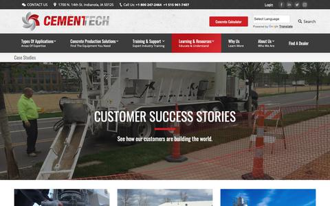 Screenshot of Case Studies Page cementech.com - Concrete Customer Case Studies - captured Sept. 27, 2018