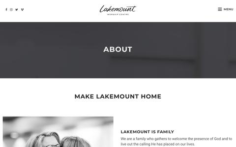 Screenshot of About Page lakemount.ca - About | Lakemount Worship Centre - captured Sept. 26, 2018