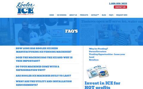 Screenshot of FAQ Page koolerice.com - Ice Vending Machine -FAQs| Kooler Ice - captured Oct. 17, 2017