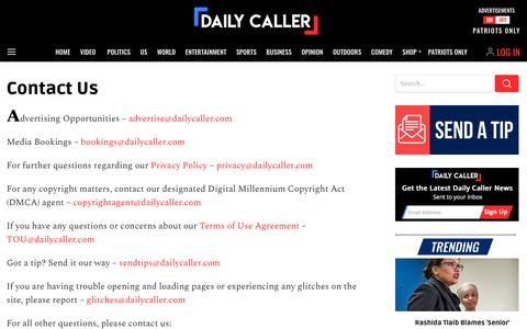 Screenshot of Contact Page dailycaller.com - The Daily Caller features breaking news, opinion, research, and entertainment 24 hours a day | The Daily Caller - captured Aug. 20, 2019