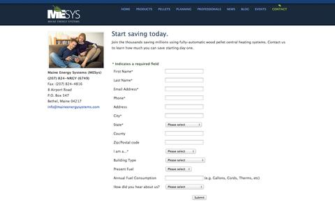 Screenshot of Contact Page maineenergysystems.com - Contact Form : Maine Energy Systems - captured Sept. 30, 2014
