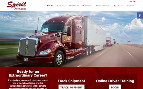 Screenshot of Home Page spirittrucklines.com - Spirit Truck Lines - captured Jan. 26, 2015