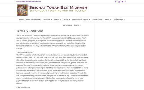 Screenshot of Terms Page stbm.org - Terms & Conditions | Simchat Torah Beit Midrash - captured July 26, 2018
