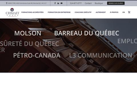 Screenshot of Home Page fareschmait.ca - Formation continue - Perfectionnement professionnel Montréal - captured Oct. 11, 2018