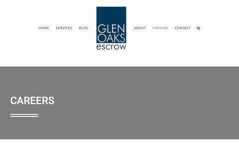 Screenshot of Jobs Page glenoaksescrow.com - Careers - Glen Oaks Escrow - captured June 14, 2019