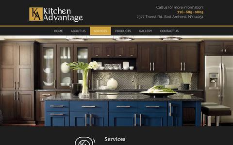 Screenshot of Services Page kitchenadvantageofwny.com - Kitchen Countertops & Bathroom Remodel Buffalo, NY | Kitchen Advantage - captured Feb. 12, 2016