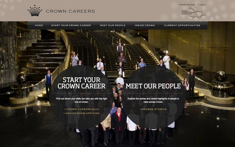 Screenshot of Home Page Jobs Page crownjobs.com.au - Crown Careers - Home - captured Oct. 9, 2014