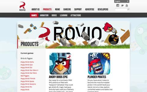 Screenshot of Products Page rovio.com - Games - Rovio Entertainment Ltd - captured Sept. 17, 2014
