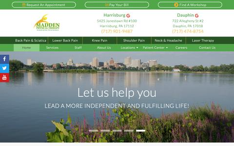 Screenshot of Home Page maddenpt.com - Home | Madden Physical Therapy | Harrisburg and Dauphin PA - captured Nov. 6, 2018