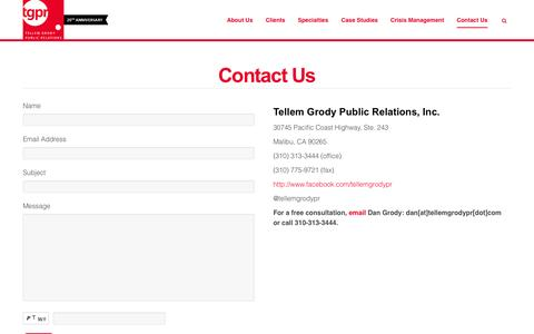 Screenshot of Contact Page tellemgrodypr.com - Contact Us | Tellem Grody Public Relations - captured Oct. 26, 2014