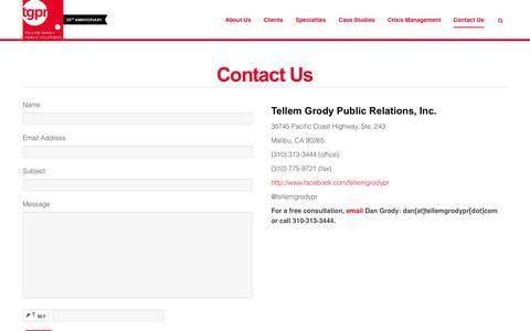 Screenshot of Contact Page tellemgrodypr.com - Contact Us | Tellem Grody Public Relations - captured Oct. 26, 2014