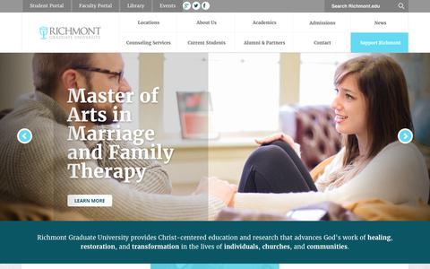 Screenshot of Home Page richmont.edu - Richmont Graduate University - Heal. Restore. Transform. - captured Sept. 1, 2017
