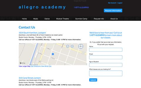 Screenshot of Locations Page allegro-academy.com - Locations - captured Nov. 20, 2016