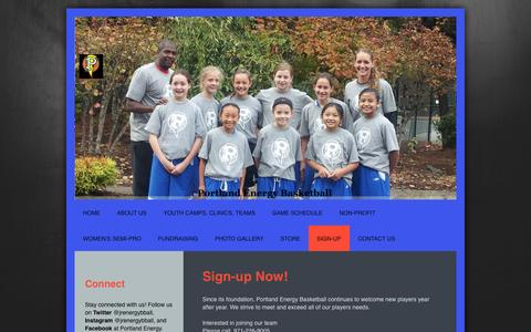 Screenshot of Signup Page portlandenergybasketball.com - Girls Basketball Teams, Camps, Clinics - Sign-up - captured Oct. 7, 2014