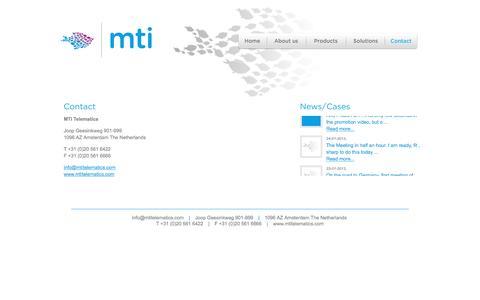 Screenshot of Contact Page mtitelematics.com - Contact - MTI Telematics - captured Feb. 3, 2016