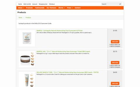Screenshot of Products Page suntegrityskincare.com - Products - captured Oct. 7, 2014