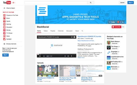 Screenshot of YouTube Page youtube.com - StackSocial  - YouTube - captured Oct. 22, 2014