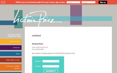 Screenshot of Contact Page victoriaprice.com - contact - captured Oct. 7, 2014