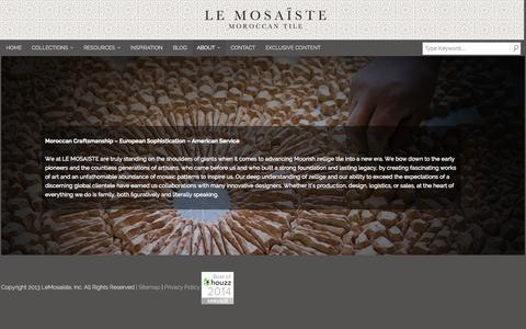 Screenshot of About Page lemosaiste.com - About | Le Mosaiste | Moroccan Tile, Moroccan Mosaic Tiles - captured Oct. 2, 2014