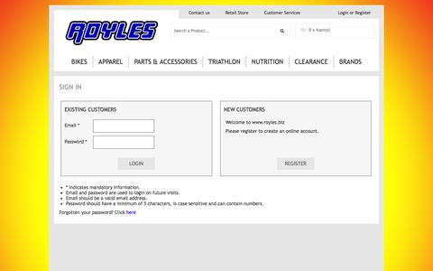 Screenshot of Login Page secure-basket.com - Road Cycling and Triathlon Specialists - captured Oct. 29, 2014